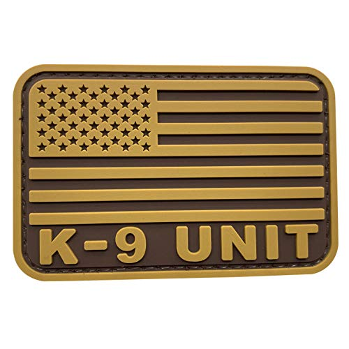 uuKen Coyote Tan PVC K-9 Patch 2x3 inch with US American Flag for Military Clothing Bags Tactical Vest Hat Cap (Tan, S3'x2')