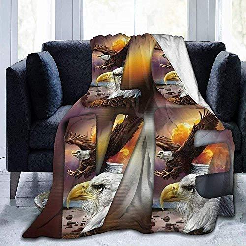 Searster$ Throw Blanket Liebesbrief Patriotischer Adler Sonnenuntergang Fleecedecke Superweiche Kuschelige Hypoallergene Decke Für Bettcouch Wohnzimmer, 102X127 cm