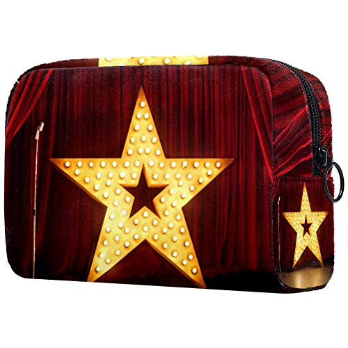 Red Curtains Big Star Lights Travel Toiletry Bag Bag Easy Organization for Men or Women