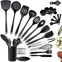 charlemain utensili cucina silicone, 35 pezzi utensili da cucina in silicone antiaderente, utensili cucina silicone con supporto, set di utensili da cucina in silicone (nero) (35 pezzi)