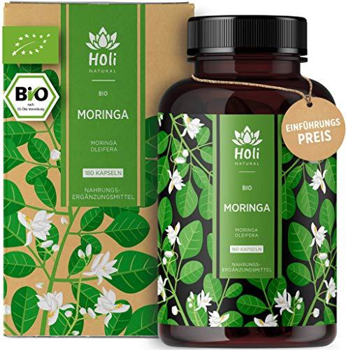 Holi Natural® BIO Moringa Kapseln | 180 vegane Kapseln | 1800mg je Tagesdosis | ECHTE Moringa Oleifera | Traditionell Ayurvedischer Wunderbaum | Hochdosiert & Laborgeprüft (180 Kapseln)