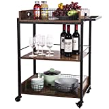 X-cosrack Bar Serving Cart,Mobile Wine Cart on Wheels, Kitchen Carts for Home,Industrial Vintage Style Wood Metal Serving Trolley, with Removable Top Tray,Brown