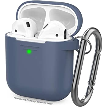 AhaStyle Upgraded AirPods Case Silicone Protective Cover Skin [Front LED Visible] Compatible with AirPods 2 & 1(Navy Blue)