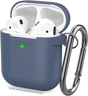 AhaStyle Upgrade AirPods Case Silicon Protective Cover [Front LED Visible] Compatible with Apple AirPods 2 and 1(Navy Blue)