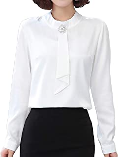 JHVYF Women's Ruffled Long Sleeve Victorian Blouse Formal Work Button Down Shirt Top