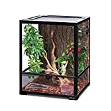 REPTI ZOO Reptile Glass Terrarium, 18' x 18' x 24' Front Opening Terrarium with Double Hinge Door & Top Screen Ventilation, 30 Gallon Tank Large Reptile Terrarium (Knock-Down)