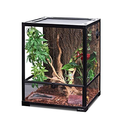 REPTI ZOO Reptile Glass Terrarium, 18' x 18' x 24' Front Opening Terrarium with Double Hinge Door & Top Screen Ventilation, 30 Gallon Tank Large Reptile Terrarium (Knock-Down)