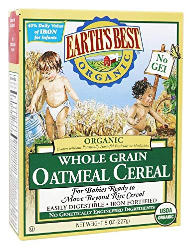 Earth's Best Organic Whole Grain Oatmeal Cereal, 8 oz (227 g), Pack of 2