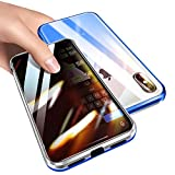 Anti-Peeping iPhone SE 2020 - iPhone 8 iPhone 7 360° Full Body Gradient Color Case,Double Sided Glass [Magnetic Adsorption] Metal Bumper Protection Privacy Cover (Gradient Blue,iPhone7/8/SE(2020))