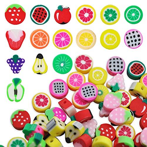 200Pcs Cuentas de Arcilla Polimérica Mezcladas Frutas Cuentas Coloridas para Hacer Joyas Abalorios para Hacer Pulseras Accesorios para la Fabricación de Joyas Manualidades DIY Joyería Pulsera (Frutas)