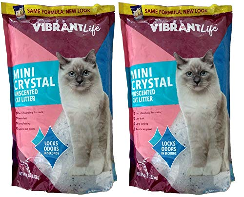 Vibrant Life Formerly Mimi Pet Cat Litter Mini Silica Gel Crystals, Ultra Absorbent, Unscented and Lightweight 4-Pound Bags
