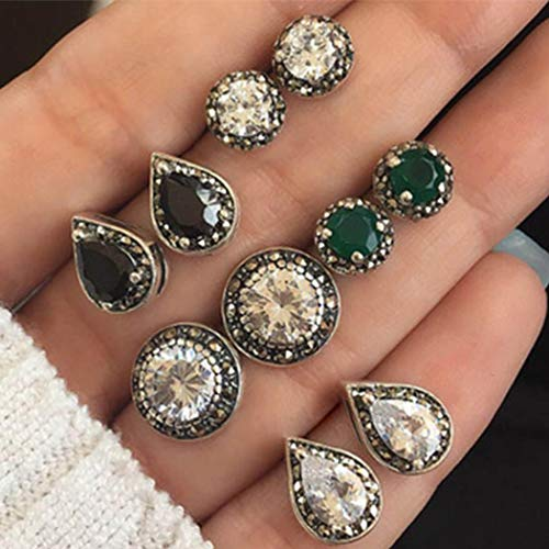 CLOACE Boho Crystal Earring Studs Assorted Earrings Glitter Ear Stud Causal Jewelry Gift for Women and Girls(5 Pairs)