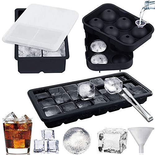 Eiswürfelform,3 Stück silikon eiswürfelform mit deckel Ice Cube Tray eiswürfelbehälter mit Trichter und auslaufsicherem Deckel für Gefrierschrank, Whisky, Cocktail, LFGB Zertifiziert