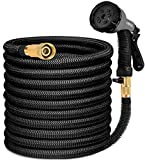 HB life Garden Hose Flexible Hose Water Hose 15M / 50FT Flexible Flexible Multifunction Extendable Hose for Garden Irrigation and Cleaning (15M, Black)