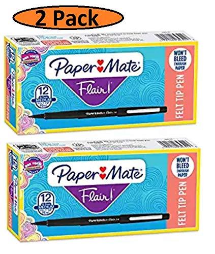 Paquete de 2 bolígrafos Flair de punta de fieltro, punta media (0,7 mm), color negro, 12 unidades/paquete (el paquete puede variar)