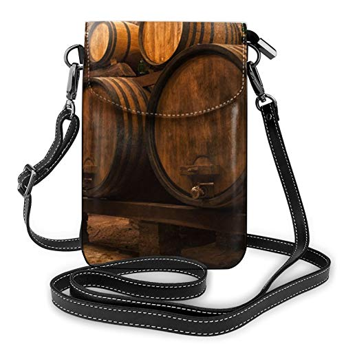 Monedero de cuero ligero para teléfono celular, contenedor de roble de vino, pequeñas bolsas cruzadas, bolsa de hombro, cartera para mujer, color Negro, talla Talla única