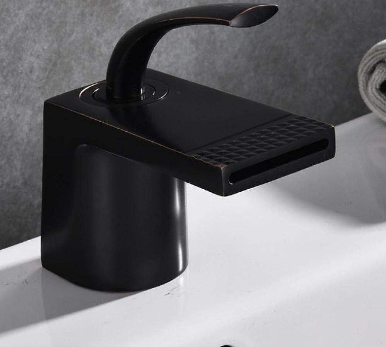 CZOOR Becken Wasserhahn Messing kalt und warm schwarz Bad Wasserfall Wasserhahn Becken Waschbecken Mischbatterie Einhebel Einlochmontage Wasserhahn