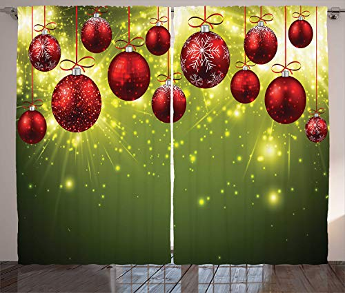 """Ambesonne Christmas Curtains, Vibrant Colored New Year Design with Psychedelic Digital Effects and Baubles Print, Living Room Bedroom Window Drapes 2 Panel Set, 108"""" X 84"""", Green Red"""