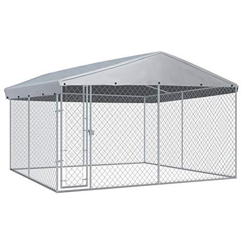Festnight Outdoor Hundezwinger mit Überdachung Hundehütte Hundekäfig Hundehütte Hundehaus Tierlaufstall Freilaufgehege Verschließbares Riegelsystem für Hunde 382x382x225 cm