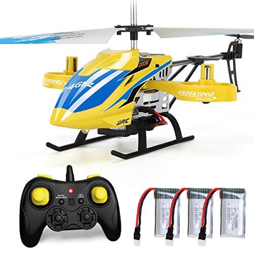 Helicóptero JJRC con control remoto, helicóptero JX02 de 4 canales con hélices laterales para mantener la altitud de vuelo lateral con 3 baterías en 18 minutos Resistencia al choque RC Toy (Amarillo)