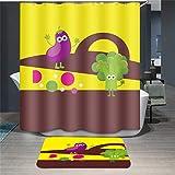 Baisheng Waterproof Mold Proof Resistant Bad Vorhang Waschbar Duschvorhang Polyester Stoff 3D Mehltau Beweis Vorhang mit Haken (Gemüse-Cartoon-39 * 78Inch/100 * 200cm)