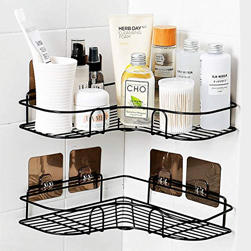 ASHINER 2 paquetes de estante ducha esquina para baño, estanteria rinconera de accesorios baño a prueba de óxido, metalica almacenaje de pared + 4 ganchos adhesivos de hierro - negro