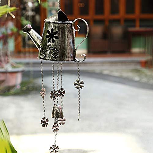 WXMJ Silber antike Wasserkocher Licht, Solar LED Windspiele Licht, Outdoor-Ornamente Gartenfenster