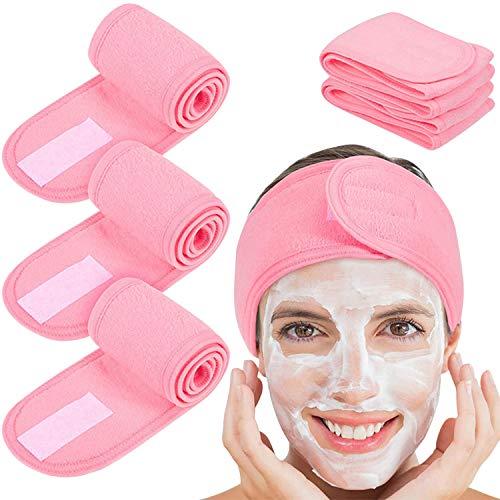 De feuilles 4Pcs Haarband Damen, Kosmetik Stirnband Frottee, verstellbares Haarschutzband mit Klettverschluss für Make Up,Sport,Yoga, Gesichtwaschen