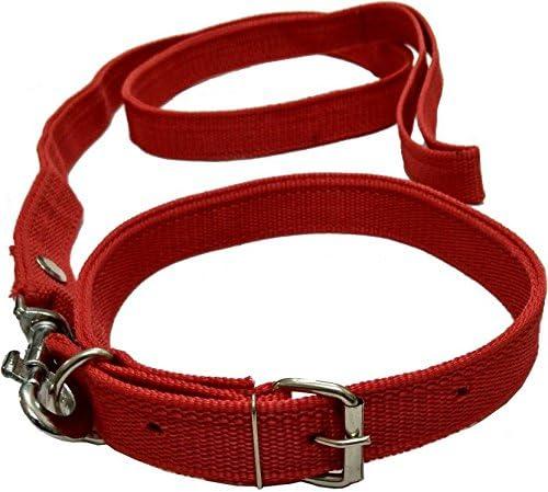 Sollar'S Neck Collar Belts and Leash Set, Medium, Red