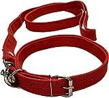 Sollar's Neck Collar Belts and Leash Set, Red, Medium