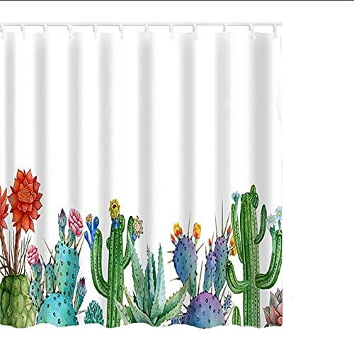 XCBN Cortina de Ducha con Estampado de Hojas Verdes de 180x180 cm, Cortinas de baño Modernas de poliéster con Plantas Naturales A7 180x180 cm