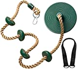 Jungle Gym Kingdom Tree Swing Climbing Rope with Platforms and Disc Swings Seat (Green, 21')