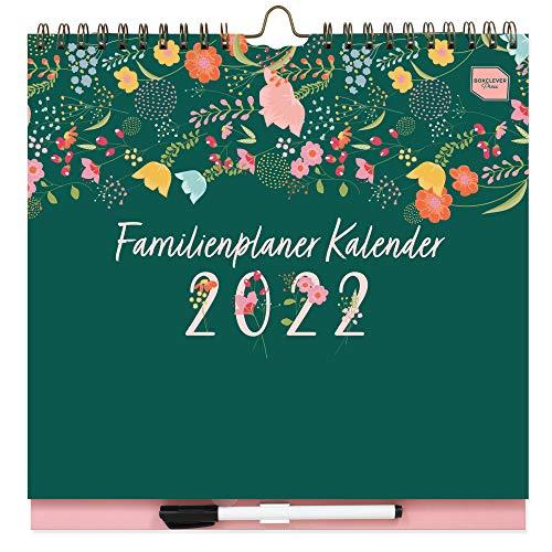 Boxclever Press Familienplaner 2022. Kalender 2022 Wandkalender mit Wochenansicht & 6 Spalten. Wandkalender 2022 ab sofort nutzbar bis Dez'22. Familienkalender 2022 mit Listen, Tasche & Stickern.