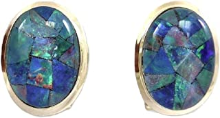 Vics Fine Jewelry Mosaic 13.9 x 9.9 mm Opal Earring with 14k Yellow Gold