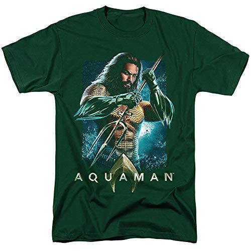 Aquaman Movie Jason Mamoa Trident T Shirt & Stickers (X-Large) Hunter Green