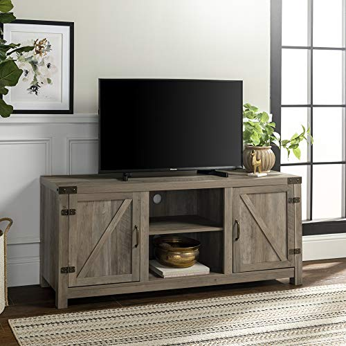 Walker Edison Farmhouse Barn Wood Universal Stand for TV's up to 64' Flat Screen, Storage Cabinet Doors and Shelves, Entertainment Center, 58 Inch, Grey Wash