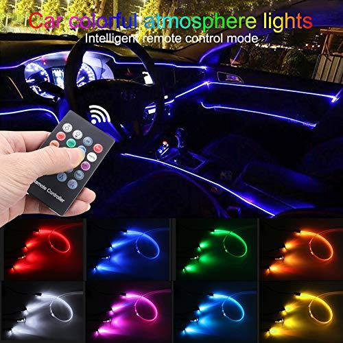 TABEN Umgebungslicht RGB Fernbedienung Auto Atmosphäre Licht Lampe Soft DIY Refit Glasfaserband 64 Farben Innenbeleuchtung Dekoratives Licht 1W DC 12V 3m