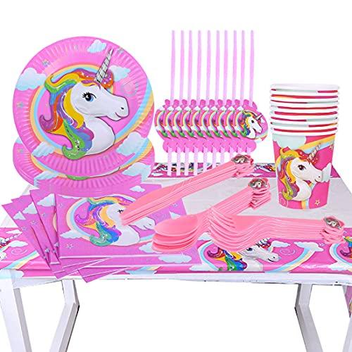 Vajilla de Unicornio, Suministros de Decoraciones de Fiesta de Unicornio para Niños Niña Boda...