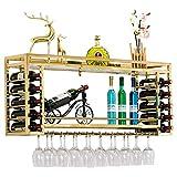 ZGYQGOO - Botellero de pared de acero inoxidable, soporte para botellas de vino, metal y acero inoxidable