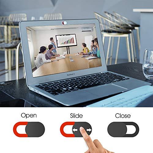 KIWI Design Webcam Abdeckung 6er Pack Webcam Cover Laptop Kamera Cover Folie Ultradünn mit Sauberem Tuch für Laptop, PC, iMac, Computer, iPad, Smartphone(4 Schwarz+2 Weiß)