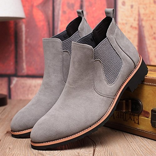 Brand Genuine Leather Men Chelsea Boots Sewing Thread Med Heel Men Ankle Boots Britain Style Vintage Winter Boots