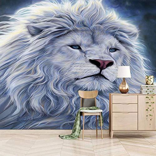 Dsromhgqi papel pintado mural 3d 250x175cm Blanco moda animal león Mural ciudad decoración del dormitorio del hogar habitación de los niños papel tapiz mural autoadhesivo simulación paisaje pintura ar