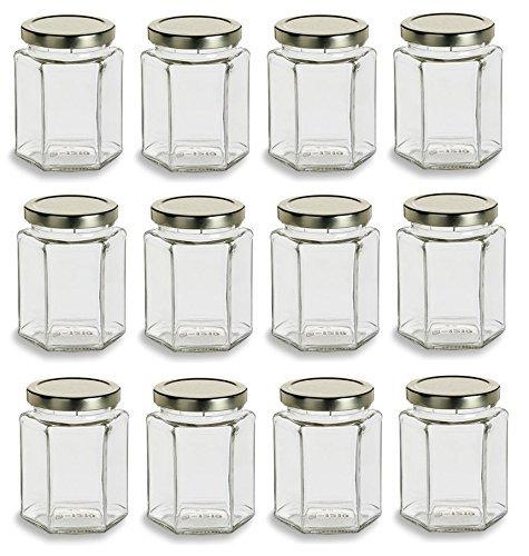 HOPEMOB Tarro 9 oz grande hexágono tarros de vidrio para mermelada miel boda Regalos ducha regalos bebé…