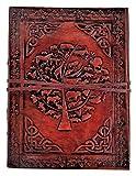 Kooly Zen – Cuaderno de notas, diario, libro, piel auténtica, vintage, árbol de la vida animal, nogal, 13 x 17 cm, 240 páginas, papel premium