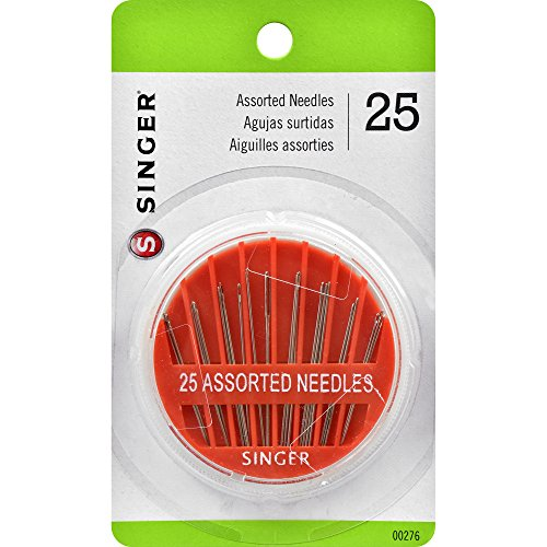 SINGER 00276 Assorted Hand Needles in Compact, 25-Count,Assorted 25/Pkg