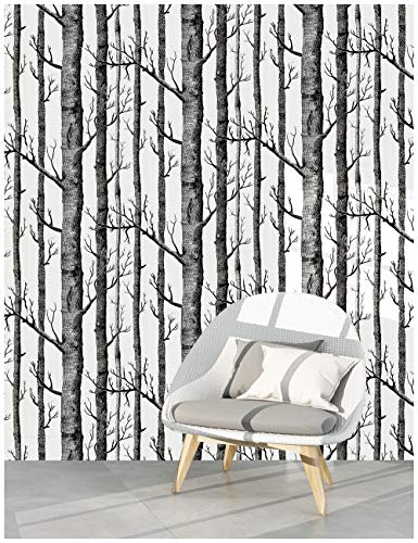 HaokHome 97012 Peel and Stick Wallpaper Birch Tree Wood Grain Contact Paper 17.7'x 9.8ft Black/White Vinyl Self Adhesive Wall Paper Design for Walls Bathroom Kitchen Home Decor
