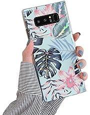 Herbests Compatible con Samsung Galaxy Note 8 Funda de Silicona Suave Funda de Flores Elegante Carcasa Diseño Ultra Delgada Cubierta TPU Bumper Antishock Case Cover, Rosa