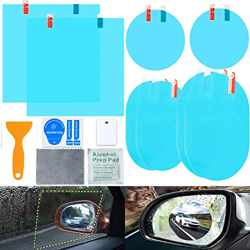 Sunwuun Pellicola Antipioggia per specchietto Retrovisore Auto, 8 Pezzi Universale HD Pellicola Specchietti Antipioggia per Specchietto Retrovisore Au