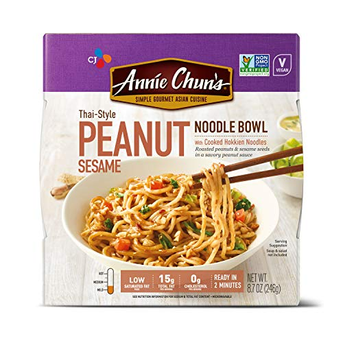 Annie Chun's Peanut Sesame Noodle Bowl, NON-GMO, Vegan, 8.7 Ounce (Pack of 6), Thai-Style, Ready Meal
