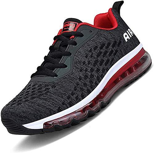 Mabove Laufschuhe Herren Damen Turnschuhe Sportschuhe Straßenlaufschuhe Sneaker Atmungsaktiv Trainer für Running Fitness Gym Outdoor(Schwarz.R/HK78,45 EU)